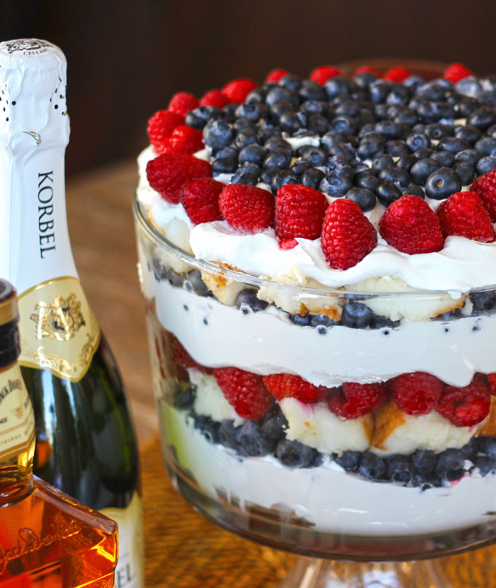 Red White And Blue Trifle With Angel Food Cake