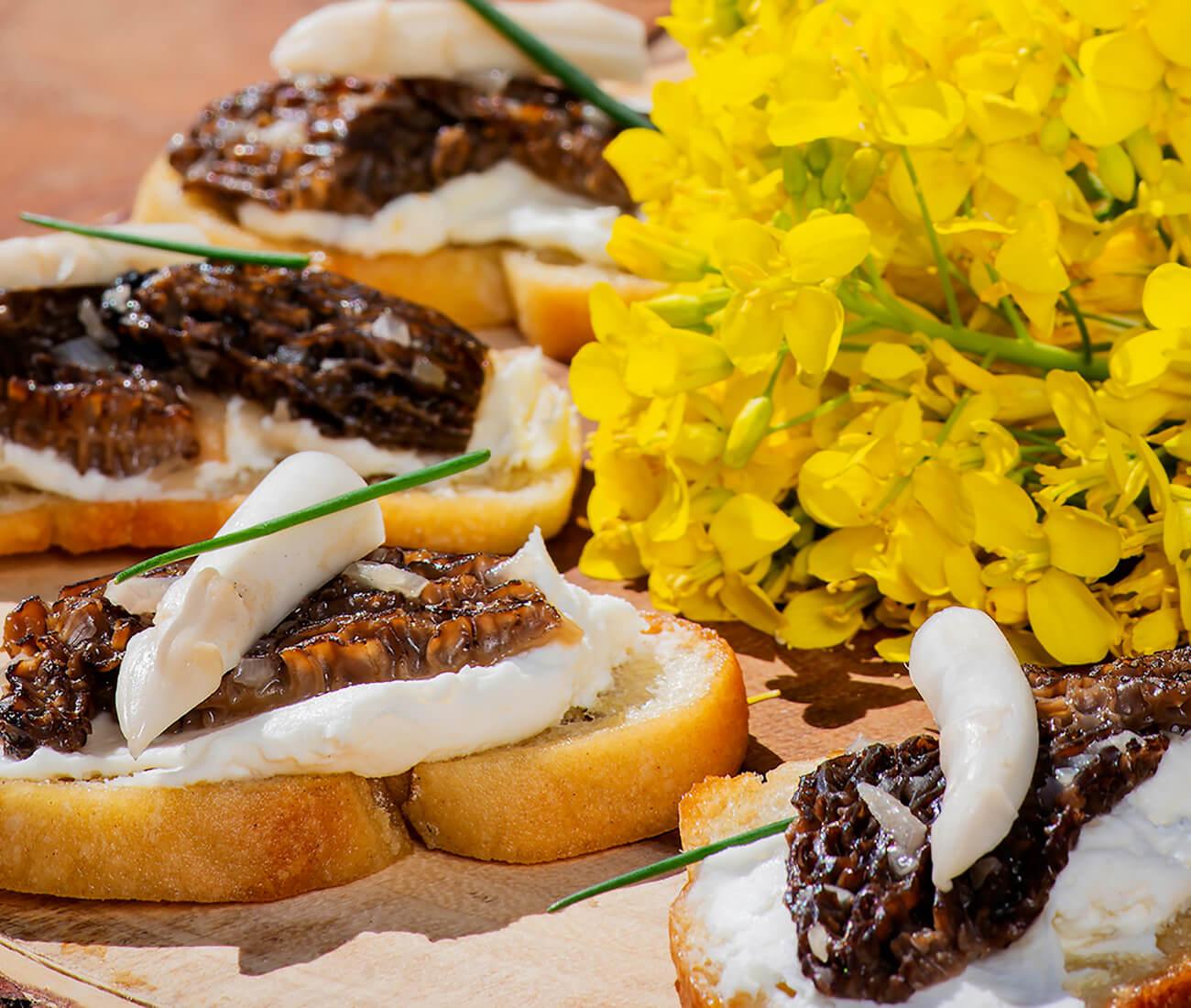 Image for Lemon Ricotta Crostini with Morel Duxelles & Pickled White Asparagus